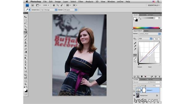 Applying curves adjustments to another image: Photoshop CS4 Portrait Retouching Essential Training