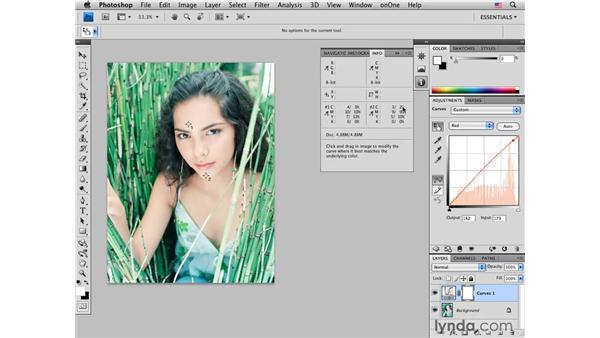 Color-correcting medium light skin tones: Female: Photoshop CS4 Portrait Retouching Essential Training