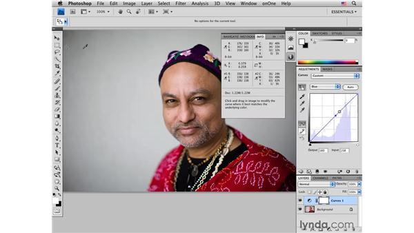 Color-correcting medium dark skin tones: Male: Photoshop CS4 Portrait Retouching Essential Training
