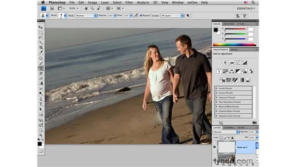 Removing elements with the Patch tool: Photoshop CS4 Portrait Retouching Essential Training