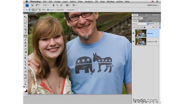 Removing T-shirt graphics: Photoshop CS4 Portrait Retouching Essential Training
