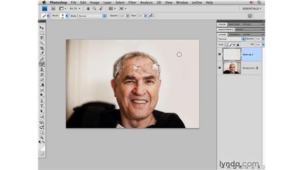 Simplifying a background: Photoshop CS4 Portrait Retouching Essential Training