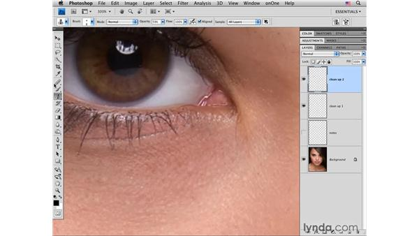 Cleaning up small details : Photoshop CS4 Portrait Retouching Essential Training