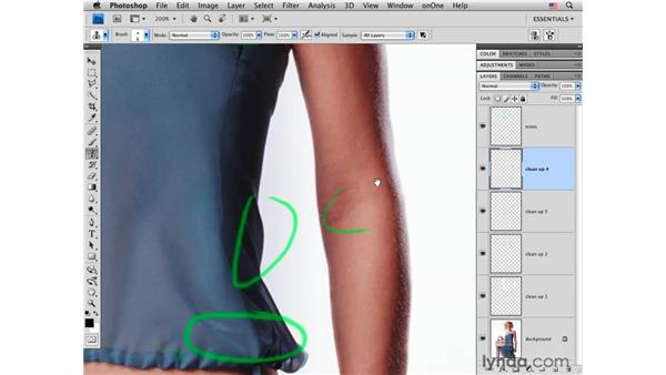 Cleaning up the details: Photoshop CS4 Portrait Retouching Essential Training