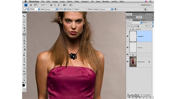 Fixing details and wrinkles: Photoshop CS4 Portrait Retouching Essential Training
