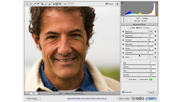 Correcting tone with the Adjustment brush: Male: Photoshop CS4 Portrait Retouching Essential Training