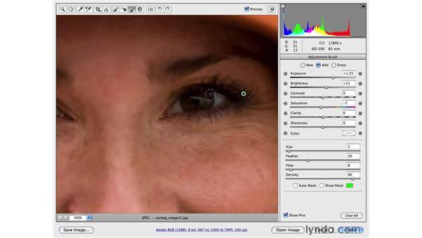 Correcting tone with the Adjustment brush: Female: Photoshop CS4 Portrait Retouching Essential Training
