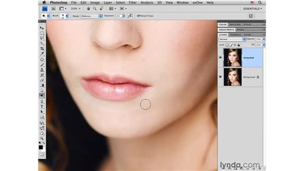 Brightening with the Dodge tool: Photoshop CS4 Portrait Retouching Essential Training