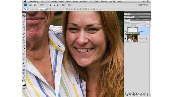 Reducing shallow wrinkles with the Healing brush: Photoshop CS4 Portrait Retouching Essential Training