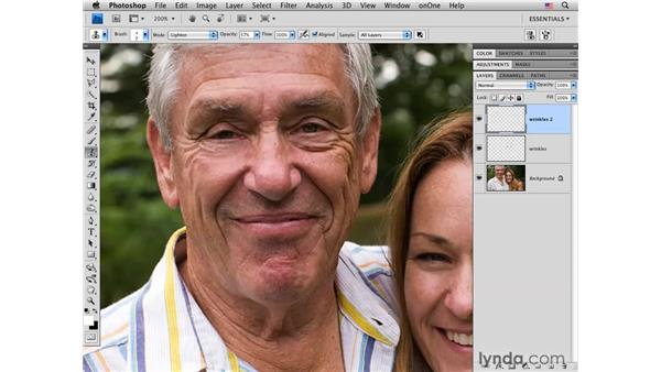 Reducing wrinkles with Clone Stamp blending: Photoshop CS4 Portrait Retouching Essential Training