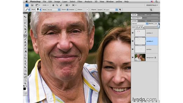 Reducing deeper wrinkles with the Healing brush: Photoshop CS4 Portrait Retouching Essential Training