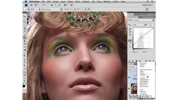 Enhancing eyes with curves: Photoshop CS4 Portrait Retouching Essential Training