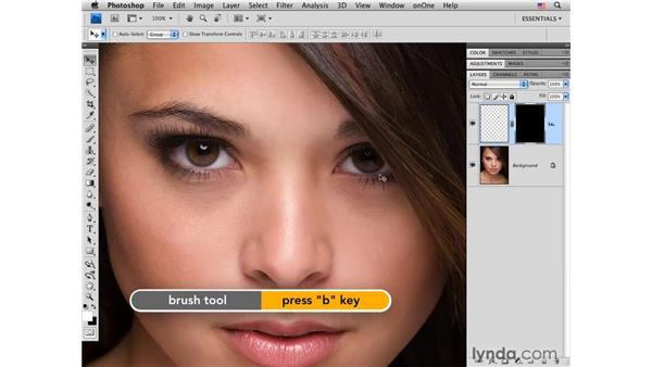 Adding a catch light: Photoshop CS4 Portrait Retouching Essential Training
