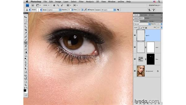 Whitening eyes in detail: Photoshop CS4 Portrait Retouching Essential Training