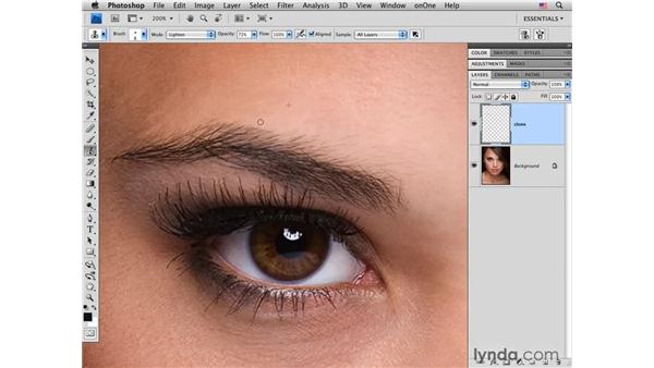 Reshaping an eyebrow: Photoshop CS4 Portrait Retouching Essential Training