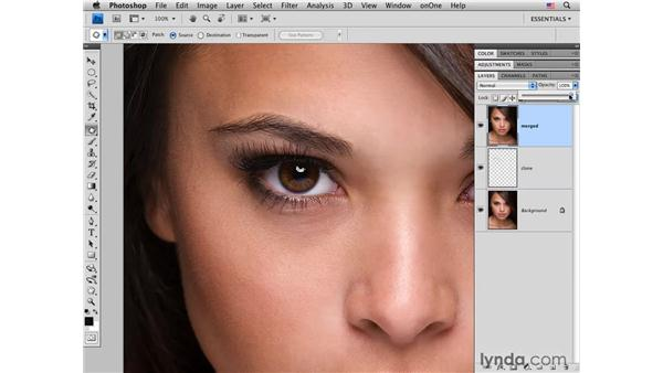 Improving texture around an eyebrow: Photoshop CS4 Portrait Retouching Essential Training