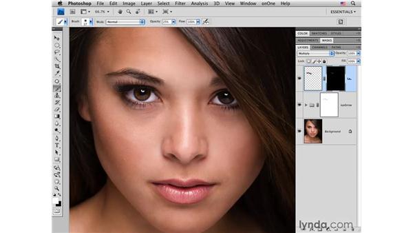 Darkening an eyebrow: Photoshop CS4 Portrait Retouching Essential Training