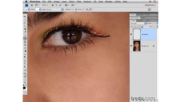 Adding mascara to increase eyelash density: Photoshop CS4 Portrait Retouching Essential Training