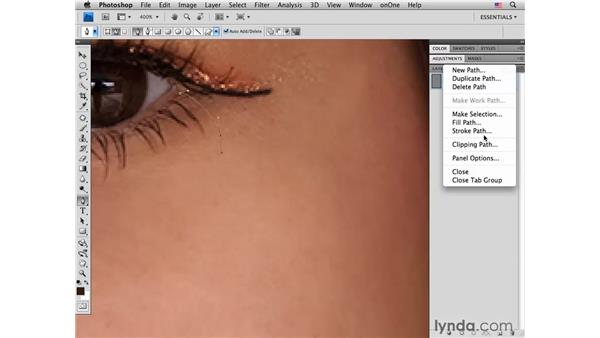 Adding eyelashes: Photoshop CS4 Portrait Retouching Essential Training