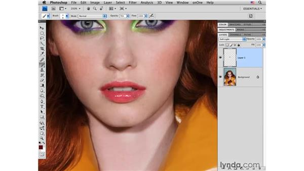 Enhancing lip color and tone: Photoshop CS4 Portrait Retouching Essential Training