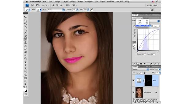 Using curves and Hue/Saturation to improve lips: Photoshop CS4 Portrait Retouching Essential Training