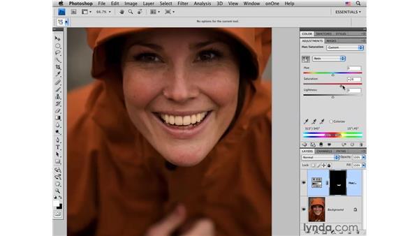 Whitening teeth with Hue/Saturation: Photoshop CS4 Portrait Retouching Essential Training