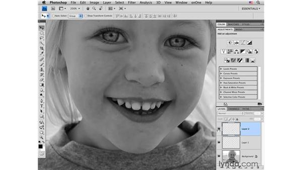 Removing a gap between teeth: Photoshop CS4 Portrait Retouching Essential Training