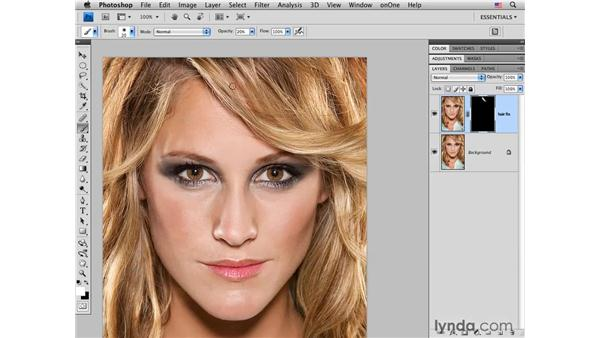 Patching a gap in hair: Photoshop CS4 Portrait Retouching Essential Training
