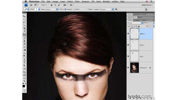 Fixing roots and hair color: Photoshop CS4 Portrait Retouching Essential Training