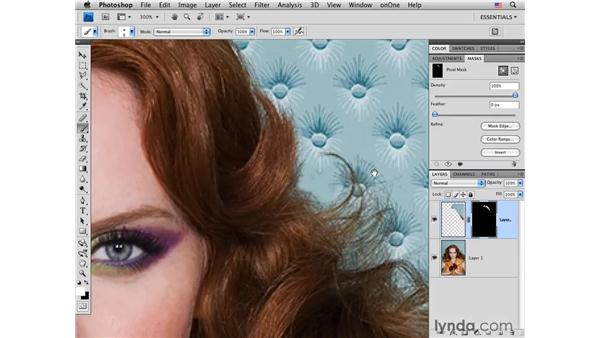 Removing flyaway hairs: Photoshop CS4 Portrait Retouching Essential Training