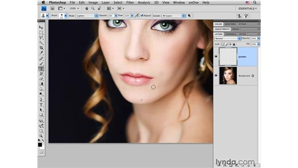 Brightening shadowed areas on the face: Photoshop CS4 Portrait Retouching Essential Training