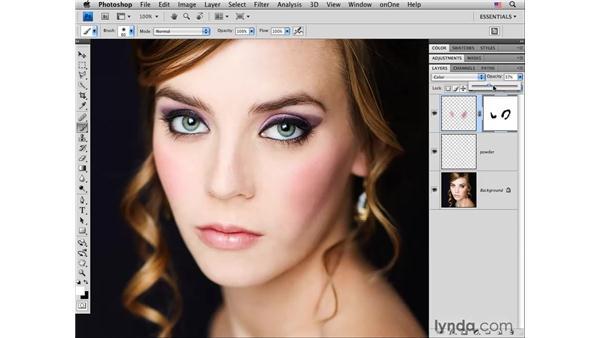 Adding color to the cheeks: Photoshop CS4 Portrait Retouching Essential Training