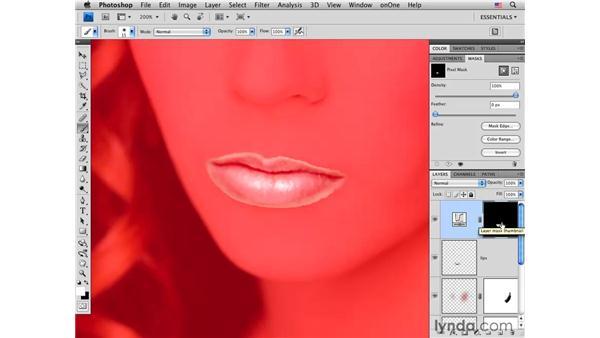 Modifying lip color: Photoshop CS4 Portrait Retouching Essential Training
