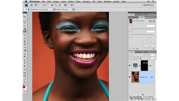 Modifying eye makeup color: Photoshop CS4 Portrait Retouching Essential Training