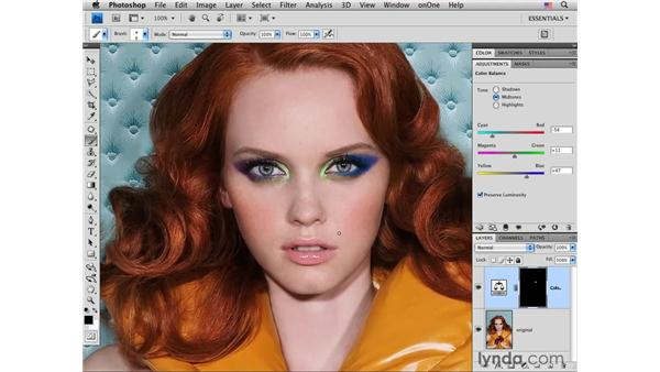 Changing eye makeup color: Photoshop CS4 Portrait Retouching Essential Training