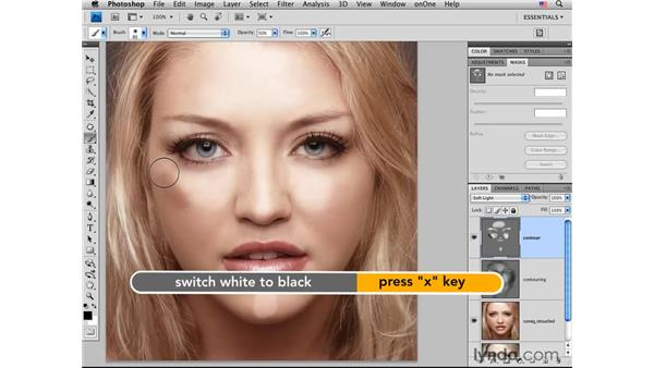 Creating dimensions with contours: Photoshop CS4 Portrait Retouching Essential Training