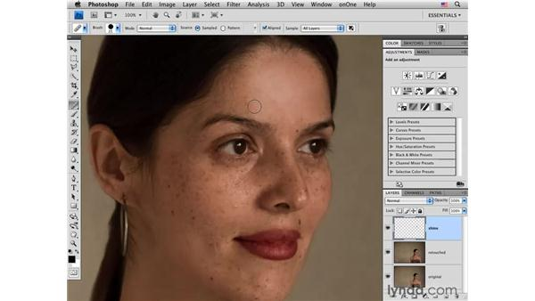 Reducing skin highlights: Photoshop CS4 Portrait Retouching Essential Training