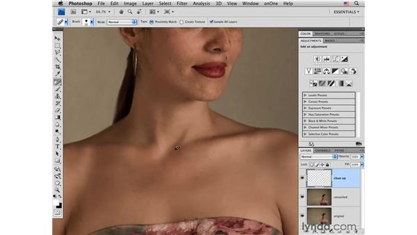Cleaning up small skin blemishes: Photoshop CS4 Portrait Retouching Essential Training