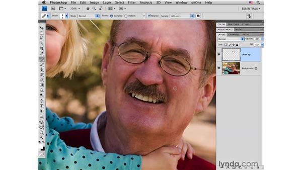 Healing small skin blemishes: Photoshop CS4 Portrait Retouching Essential Training
