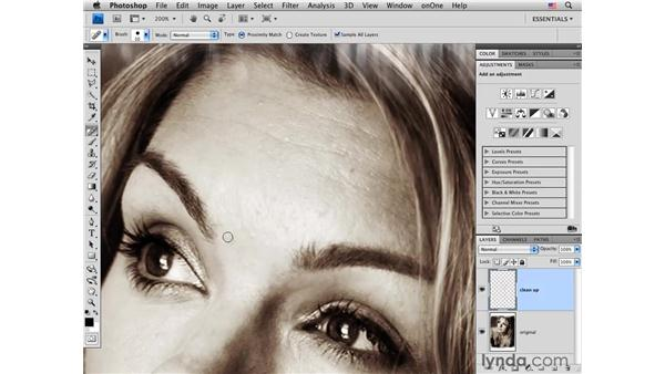 Basic skin cleanup: Photoshop CS4 Portrait Retouching Essential Training