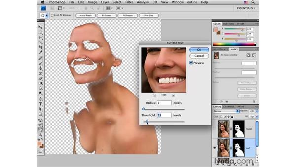 Speeding up skin softening with masking: Photoshop CS4 Portrait Retouching Essential Training