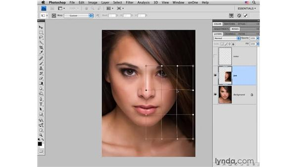 Improving the jaw line with the Free Transform tool: Photoshop CS4 Portrait Retouching Essential Training