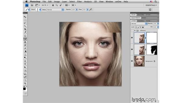 Creating simple symmetry in the face: Photoshop CS4 Portrait Retouching Essential Training