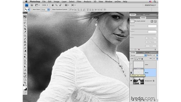 Tailor fitting a wedding dress: Photoshop CS4 Portrait Retouching Essential Training