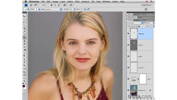 Adding makeup: Photoshop CS4 Portrait Retouching Essential Training