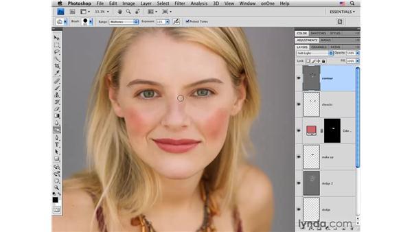 Creating dimension with contours: Photoshop CS4 Portrait Retouching Essential Training