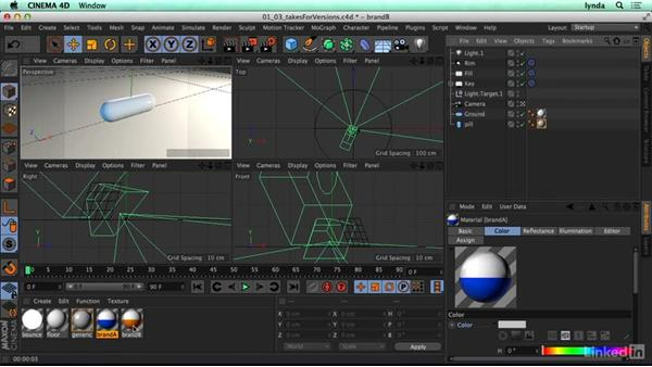 Creating versions with the Take System: CINEMA 4D R17 Essential Training