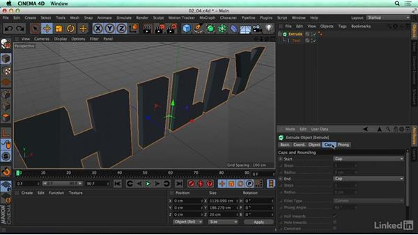 Using the Extrude object: CINEMA 4D R17 Essential Training