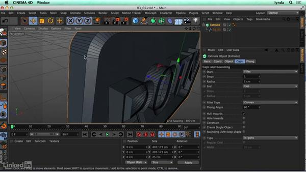 Importing curves from Illustrator and using the Extrude tool: CINEMA 4D R17 Essential Training