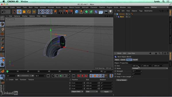 Bend deformer: CINEMA 4D R17 Essential Training